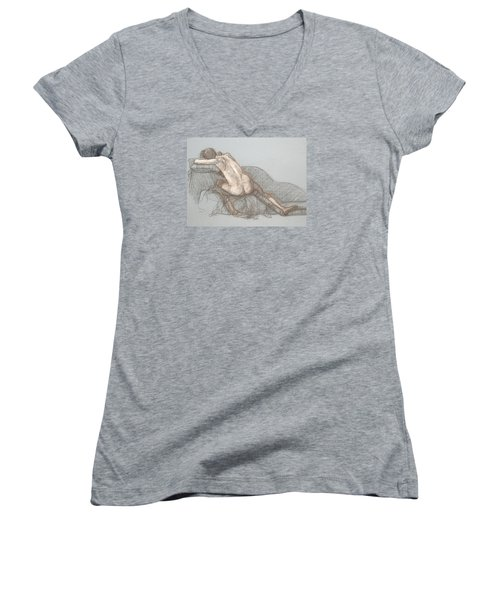 Women's V-Neck T-Shirt (Junior Cut) featuring the drawing Shelly Back View by Donelli  DiMaria
