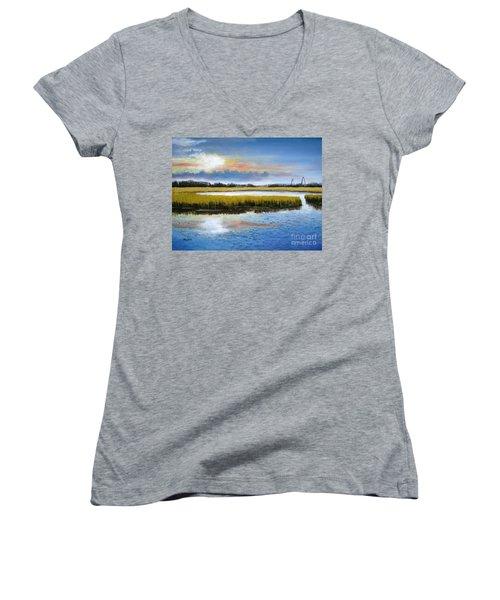 Shem Creek Sky Women's V-Neck T-Shirt