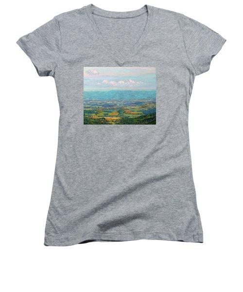 Shenandoah Blue Women's V-Neck T-Shirt