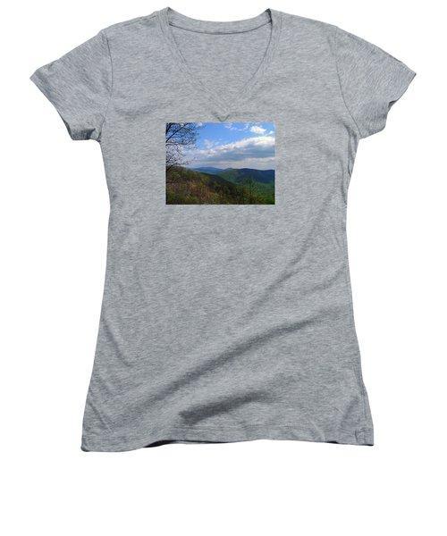 Women's V-Neck T-Shirt (Junior Cut) featuring the photograph Shenandoah Skies by Lynda Lehmann