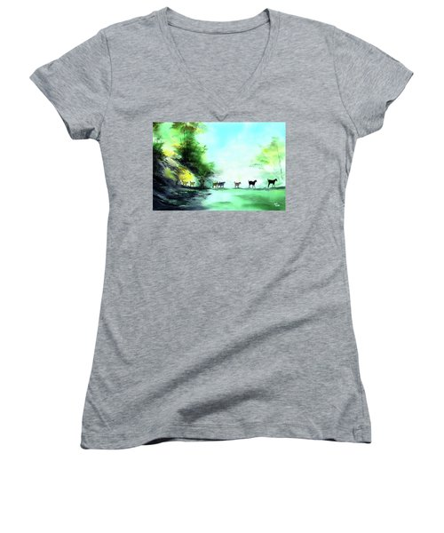 Women's V-Neck T-Shirt (Junior Cut) featuring the painting Shepherd by Anil Nene