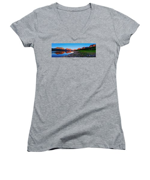 Sherburne Shore Sunrise Panorama Women's V-Neck T-Shirt (Junior Cut) by Greg Norrell