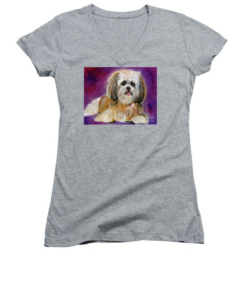Shih-tzu Puppy Women's V-Neck T-Shirt (Junior Cut)