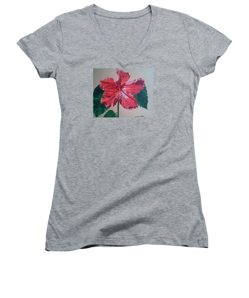 Shimmer - Red Hibiscus Women's V-Neck T-Shirt (Junior Cut) by Anita Putman