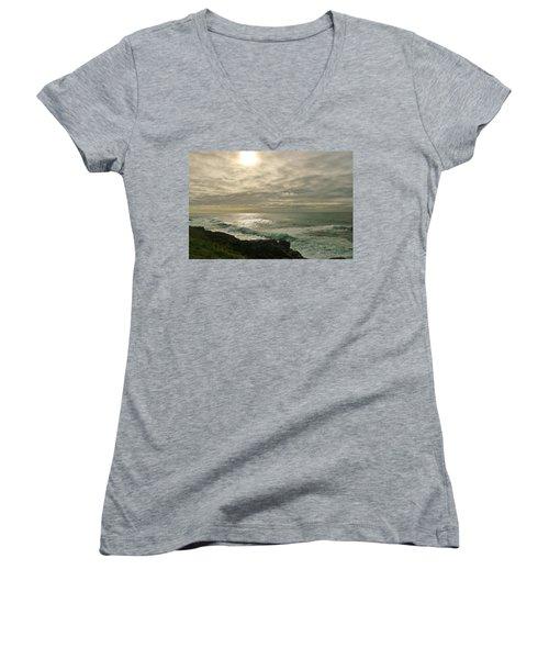 Shimmery  Light Women's V-Neck T-Shirt (Junior Cut) by Sheila Ping