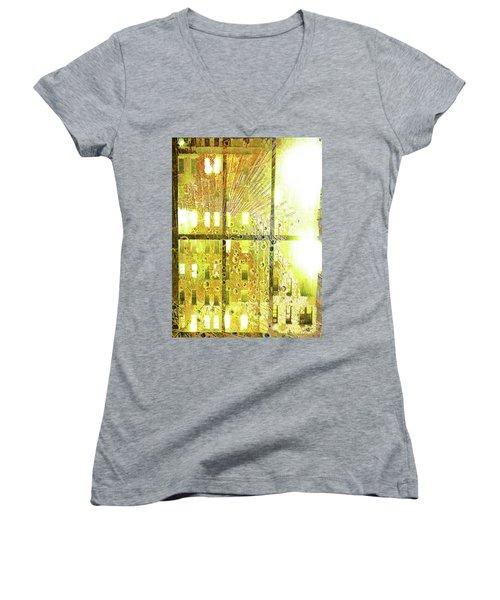 Women's V-Neck T-Shirt (Junior Cut) featuring the mixed media Shine A Light by Tony Rubino