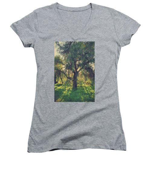 Women's V-Neck T-Shirt (Junior Cut) featuring the photograph Shine Your Light by Laurie Search