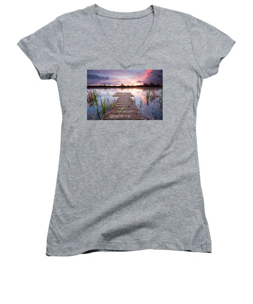 Shinewater Lake Sunrise Women's V-Neck (Athletic Fit)