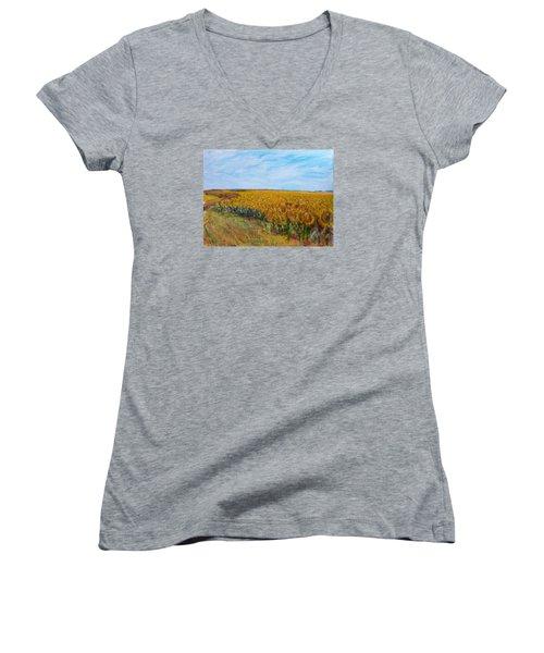 Sunny Faces Women's V-Neck T-Shirt (Junior Cut) by Helen Campbell
