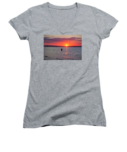 Shinnecock Fisherman At Sunset Women's V-Neck (Athletic Fit)