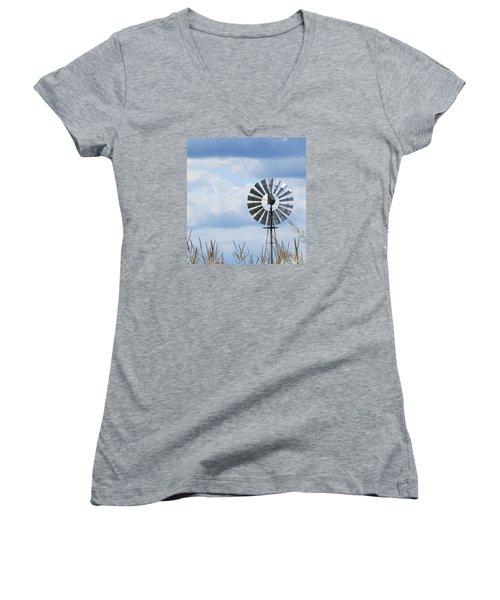 Shiny Windmill Women's V-Neck T-Shirt (Junior Cut) by Jeanette Oberholtzer