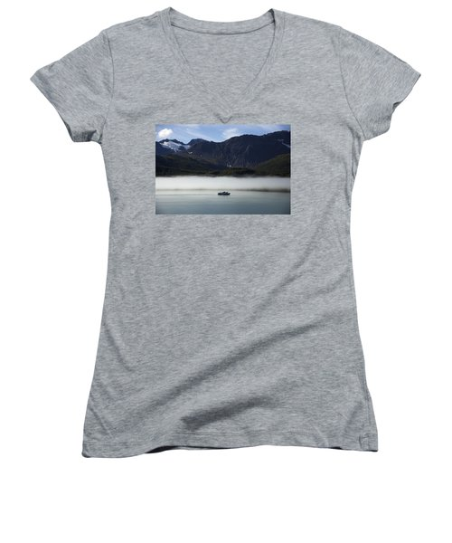 Ship In The Fog Women's V-Neck (Athletic Fit)