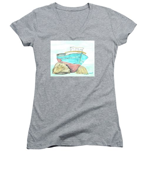 Ship Wreck Women's V-Neck T-Shirt (Junior Cut) by Terry Frederick