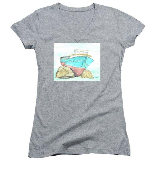 Ship Wreck Women's V-Neck T-Shirt (Junior Cut)