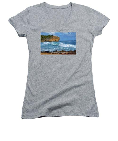 Shipwreck Beach Shorebreaks 2 Women's V-Neck T-Shirt (Junior Cut) by Marie Hicks