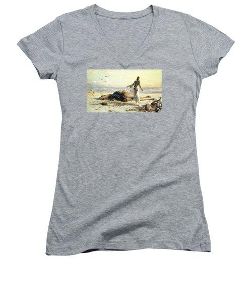 Shipwreck In The Desert Women's V-Neck T-Shirt (Junior Cut)