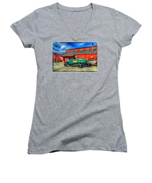 Shipyard Work Truck Women's V-Neck T-Shirt (Junior Cut)