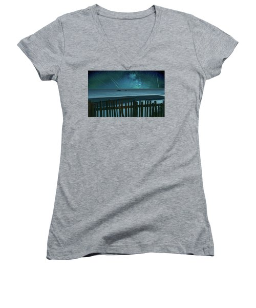 Shooting Stars Women's V-Neck T-Shirt (Junior Cut) by Marius Sipa