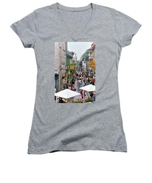 Women's V-Neck T-Shirt featuring the photograph Shop Till One Drops by John Schneider