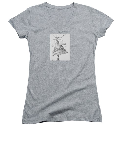 Women's V-Neck T-Shirt featuring the drawing Plasma Tree by Charles Bates
