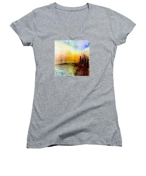 Shoreline Women's V-Neck T-Shirt (Junior Cut) by R Kyllo