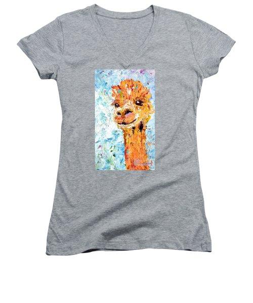 Shorn Alpaca. Where's My Fleece? Women's V-Neck (Athletic Fit)