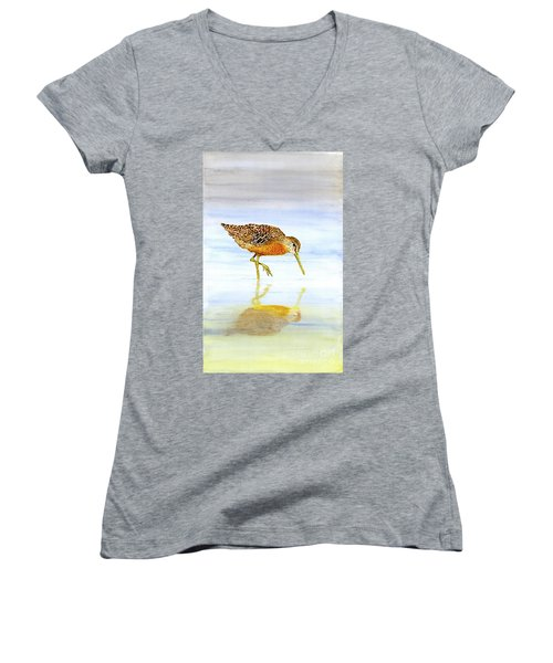Short-billed Dowitcher Women's V-Neck T-Shirt