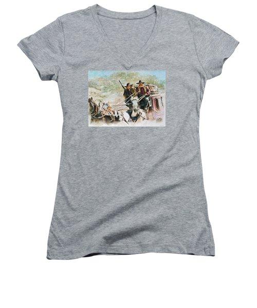 Shot Gun Women's V-Neck T-Shirt (Junior Cut) by Traci Goebel