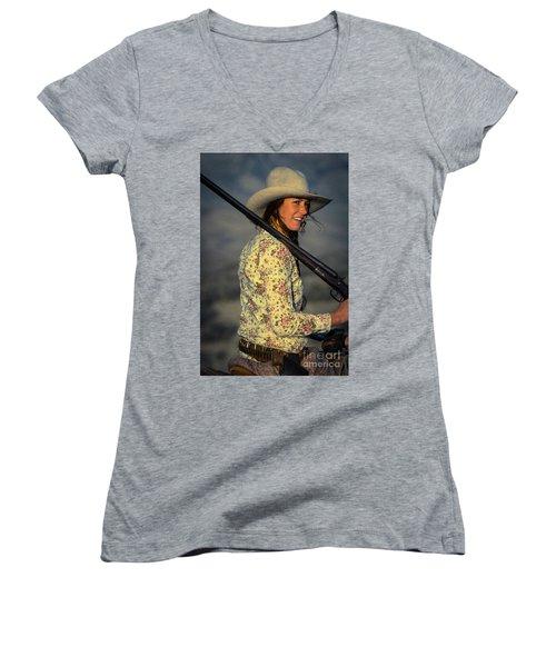 Shotgun Annie Western Art By Kaylyn Franks Women's V-Neck