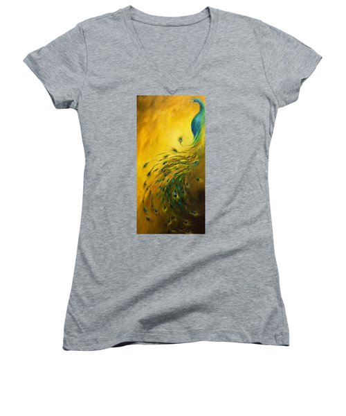 Show Off 1 Vertical Peacock Women's V-Neck T-Shirt (Junior Cut) by Dina Dargo