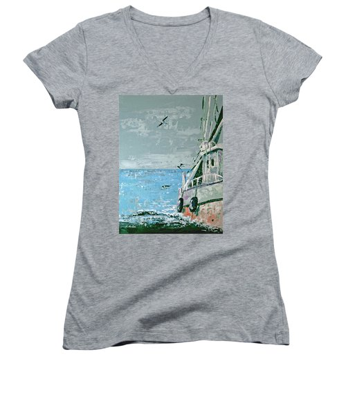 Women's V-Neck T-Shirt (Junior Cut) featuring the painting Shrimp Boat In The Gulf by Suzanne McKee