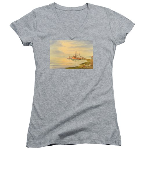 Shrimp Boat Sunset Women's V-Neck T-Shirt (Junior Cut) by Bill Holkham