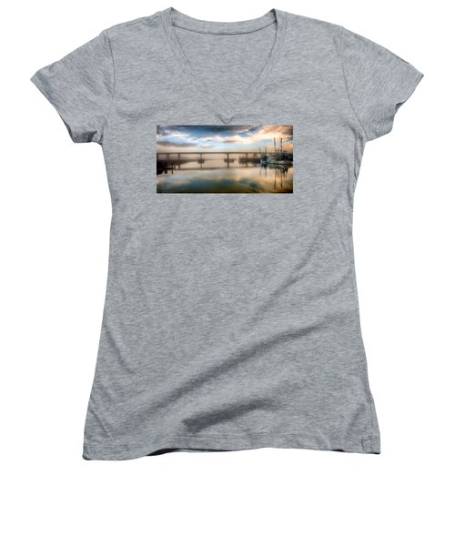 Shrimp Boats At Sunrise Women's V-Neck T-Shirt (Junior Cut)