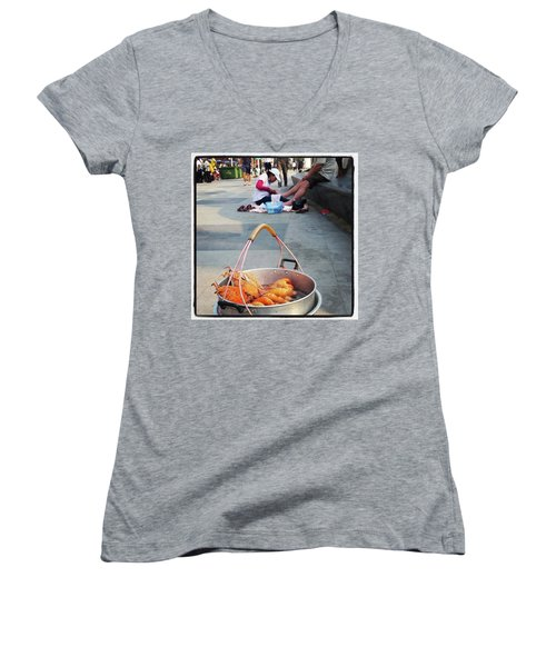 Women's V-Neck featuring the photograph Shrimping And Crabbing On The by Mr Photojimsf