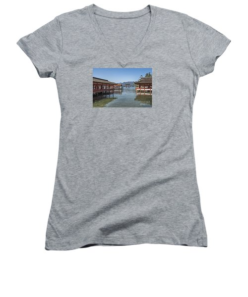 Women's V-Neck T-Shirt (Junior Cut) featuring the photograph Shrine Over Water by Pravine Chester