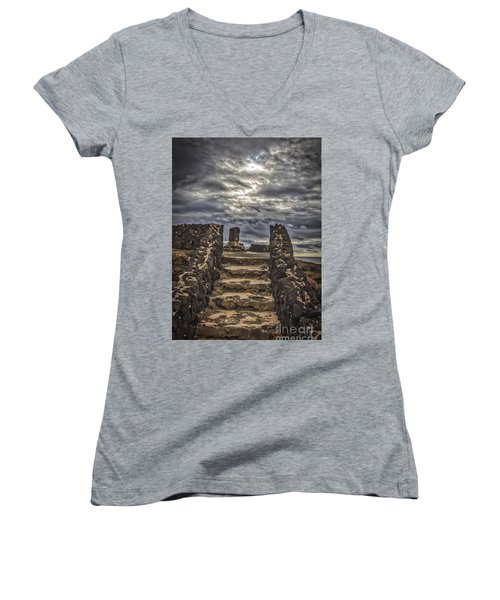 Women's V-Neck T-Shirt (Junior Cut) featuring the photograph Shrine To Drowned Fishermen by Mitch Shindelbower