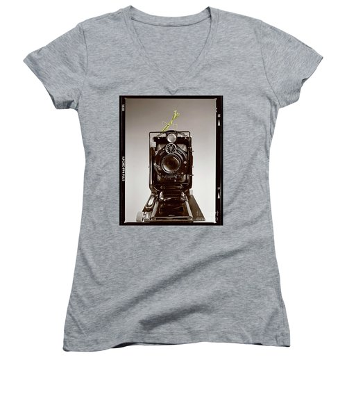 Women's V-Neck T-Shirt (Junior Cut) featuring the photograph Shutterbug Mantis by Martin Konopacki