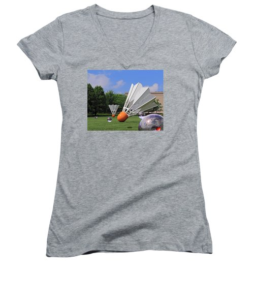 Shuttlecock Visitors Women's V-Neck (Athletic Fit)