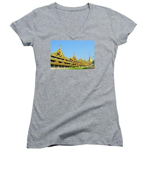 Women's V-Neck T-Shirt (Junior Cut) featuring the digital art Shwedagon Pagoda 2 by Eva Kaufman