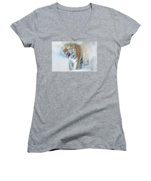 Siberian Tiger In Snow Women's V-Neck T-Shirt (Junior Cut) by Brian Tarr