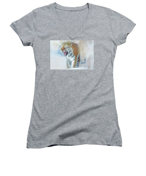Siberian Tiger In Snow Women's V-Neck (Athletic Fit)