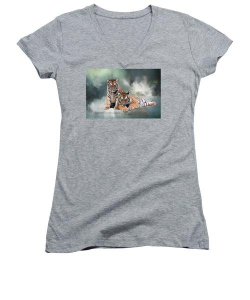Siberian Twins Women's V-Neck T-Shirt (Junior Cut) by Inge Riis McDonald