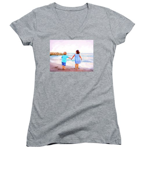 Sibling At Sunset Women's V-Neck (Athletic Fit)