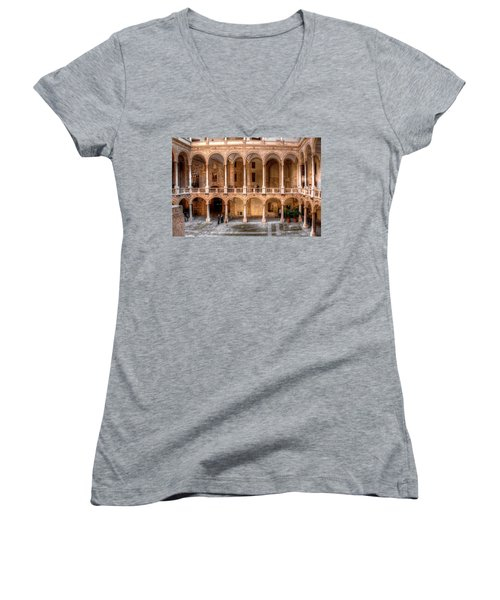 Sicilian Parliament Bldg Women's V-Neck T-Shirt (Junior Cut) by Patrick Boening