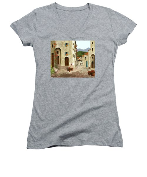 side streets of Tuscany Women's V-Neck T-Shirt (Junior Cut) by Larry Cirigliano