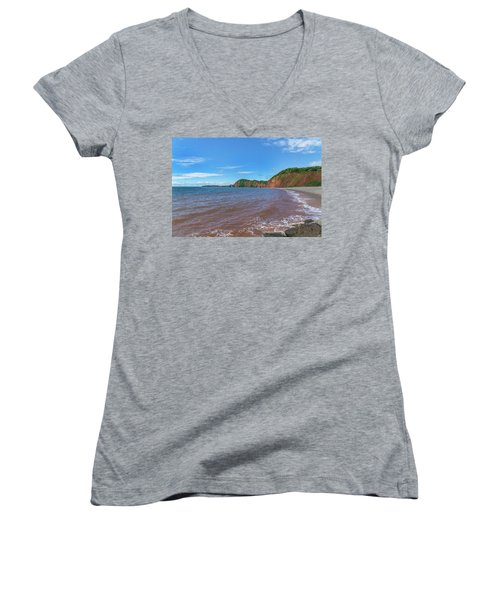 Women's V-Neck T-Shirt (Junior Cut) featuring the photograph Sidmouth Jurassic Coast by Scott Carruthers