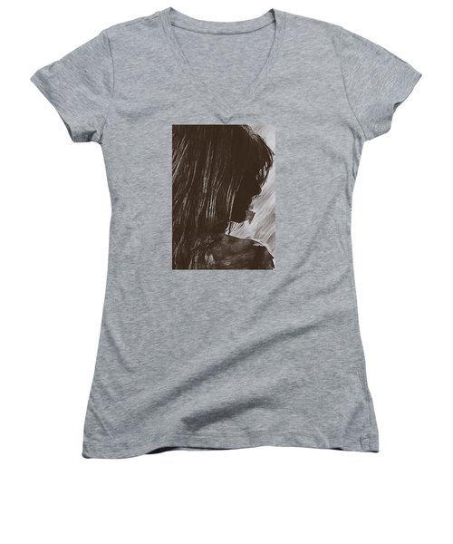 Women's V-Neck T-Shirt (Junior Cut) featuring the digital art Sienna by Galen Valle