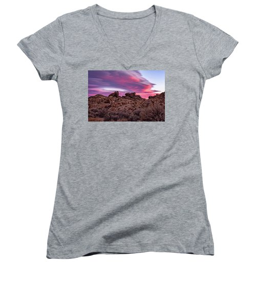 Sierra Clouds At Sunset Women's V-Neck