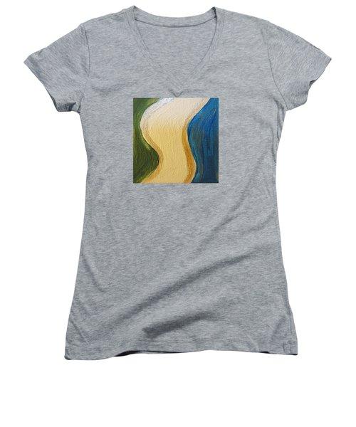 Women's V-Neck T-Shirt (Junior Cut) featuring the painting Sierra Leone Coastline - Freetown - Sierra Leone  by Mudiama Kammoh