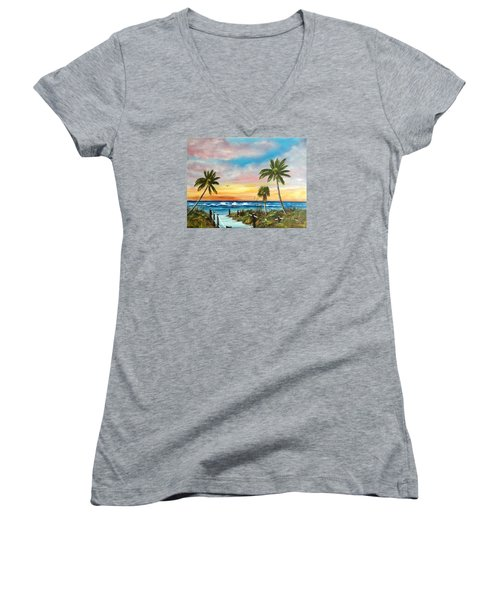Siesta Key At Sunset Women's V-Neck T-Shirt